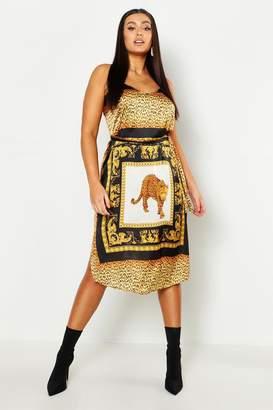 boohoo Plus Chain Print Slip Midi Dress
