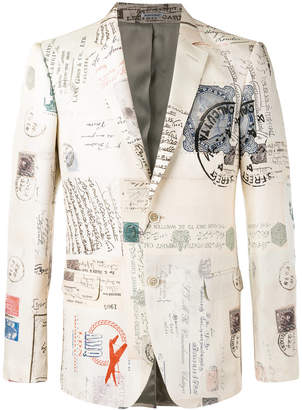 Alexander McQueen Letters from India print blazer
