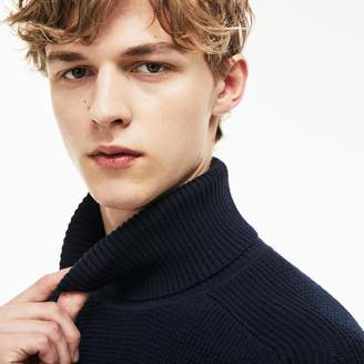 Lacoste Men's Stand-Up Neck Honeycomb Wool And Cotton Sweater