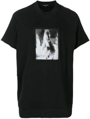Ann Demeulemeester raw edge inverted horse print T-shirt