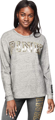PINK Bling Campus Long Sleeve Ladder-Back Tee