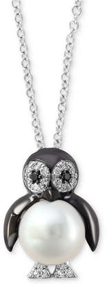 """Effy Cultured Freshwater Pearl (7-1/2mm) & Diamond (1/10 ct. t.w.) 18"""" Penguin Pendant Necklace in 14k White Gold"""