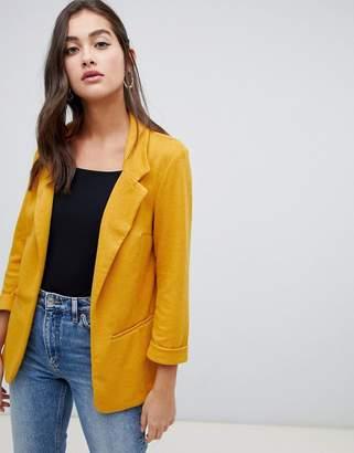 New Look textured blazer in yellow