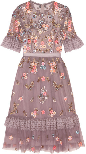 Needle & Thread - Embellished Embroidered Tulle Dress - Lavender