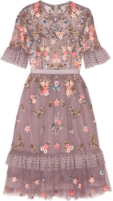 Needle & Thread - Embellished Embroidered Tulle Dress - Lavender $600 thestylecure.com