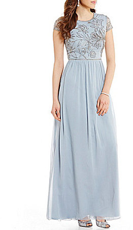 Adrianna PapellAdrianna Papell High Neck Cap Sleeve Beaded Bodice Mesh Long Gown