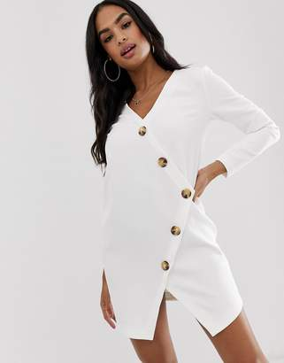 Asos Design DESIGN asymmetric shift mini dress with tortoiseshell buttons