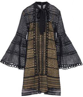 Carolina Herrera Pussy-Bow Cotton-Lace Mini Dress