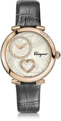 Salvatore Ferragamo Cuore Rose Gold IP Diamonds Women's Watch w/Grey Croco Embossed Strap