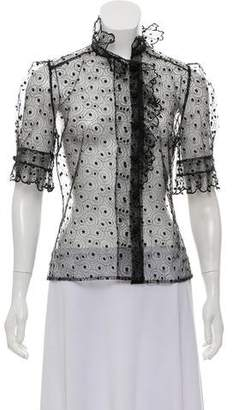 Lela Rose Polka Dot Lace Button-Up
