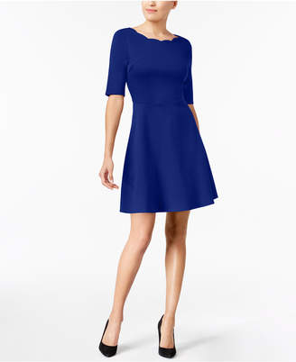 Monteau Petite Scalloped-Neck Fit & Flare Dress, Created for Macy's