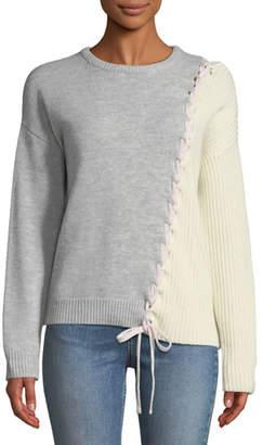 Tabula Rasa Dantie Crewneck Long-Sleeve Lace-Up Bicolor Merino Wool Sweater