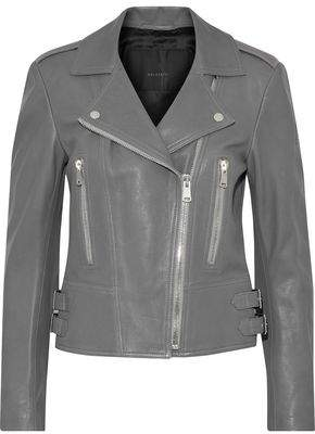 Belstaff Marving Buckle-Embellished Textured-Leather Biker Jacket