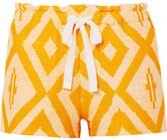 Lemlem Biruhi Printed Cotton-blend Jacquard Shorts - Yellow