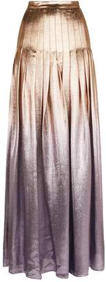 Siran Pleated Lame Maxi Skirt