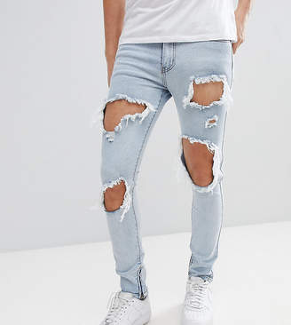 N. Liquor Poker Skinny Jeans With Extreme Rips And Ankle Zips