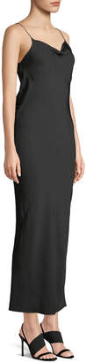 Theory Draped Sleeveless Silk Maxi Slip Dress