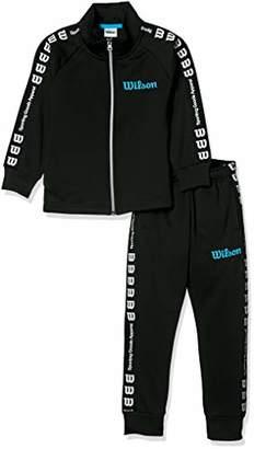Wilson (ウィルソン) - [ウィルソン] 子供服 裏毛 上下セット トレーニングスーツ WX5850 [ジュニア] ボーイズ ブラック 日本 120 (日本サイズ120 相当)