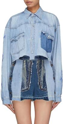 Atelier Reservé Logo print washed cropped denim shirt