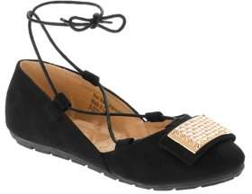 Victoria K Women's Faux Suede With Ankle Tie And Gold Ornament Embellishment Ballerina Flats
