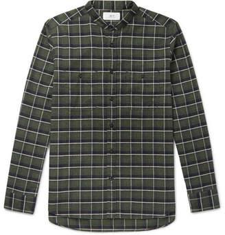 Mr P. Grandad-Collar Checked Cotton-Flannel Shirt