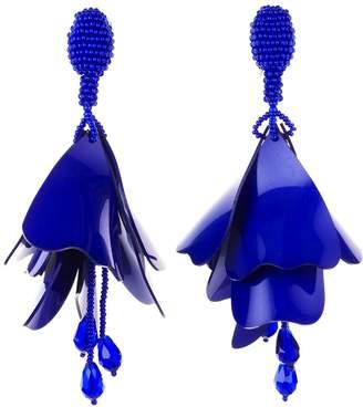 Oscar de la Renta Blue Violet Large Impatiens Drop Earrings
