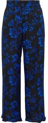 Baum und Pferdgarten Cropped Floral-Print Stretch-Silk Twill Wide-Leg Pants