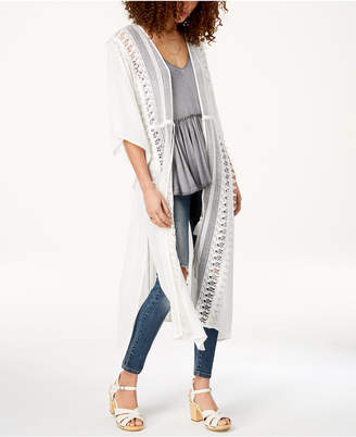 American Rag Juniors' Long Crochet-Trim Kimono, Created for Macy's