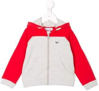 Emporio Armani Kids colour-block full hoodie