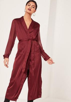 Burgundy Satin And Chiffon Mixed Belted Duster Coat $77 thestylecure.com
