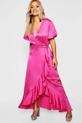 bb90ef556e4 boohoo Gemma Collins Satin Ruffle Wrap Maxi Dress