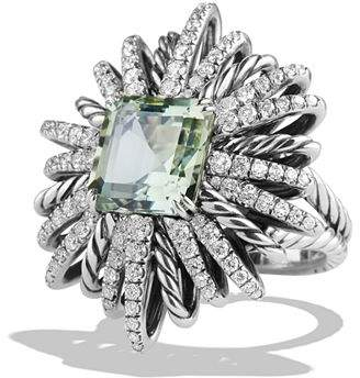 David Yurman Starburst Ring with Diamonds and Prasiolite in Silver