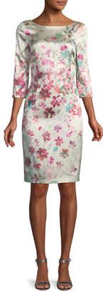 St. John Brushstroke Floral Sheath Dress