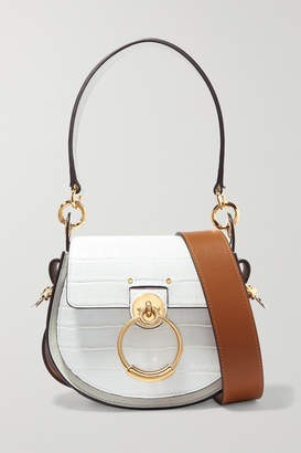 Chloé Tess Small Croc-effect Leather And Suede Shoulder Bag