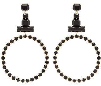 Isabel Marant Crystal Embellished Hoop Drop Earrings - Womens - Black
