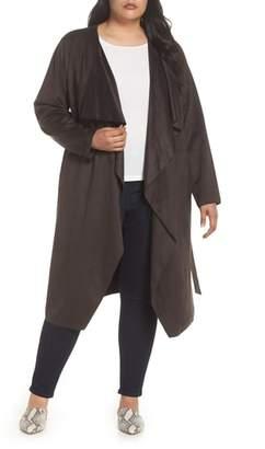 Halogen Faux Suede Front Drape Trench Coat