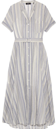 Theory - Avink Striped Crinkled Cotton And Silk-blend Midi Dress - Cream $565 thestylecure.com