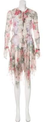 Philosophy di Lorenzo Serafini Ruffle-Trimmed Lace Dress w/ Tags