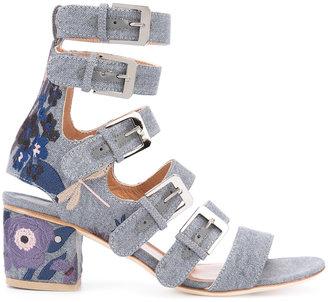 Laurence Dacade 'Nora' denim buckled sandals $950 thestylecure.com