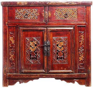 One Kings Lane Vintage Antique Hand-Carved Lacquer Cabinet