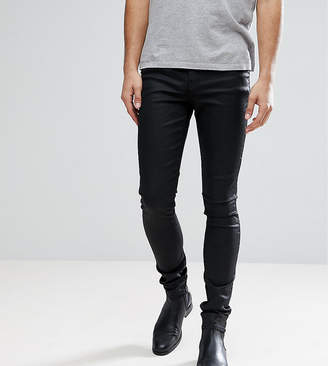 Asos DESIGN Tall super skinny jeans in coated black