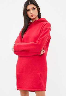 Missguided Tall Red Hooded Sweat Dress