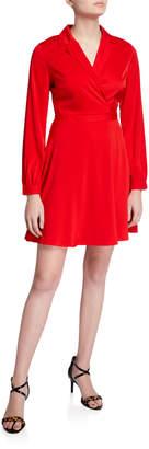 Astr Wrap Tie-Back Long-Sleeve Dress
