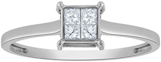 Affinity Diamond Jewelry Affinity 14K Gold 1/4 cttw Square Invisible SetDiamond Ring
