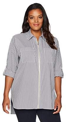 Calvin Klein Women's Plus Size Zip Front Stripe Blouse