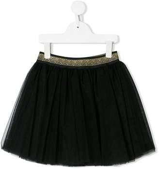 Versace Greek key waistband tulle skirt