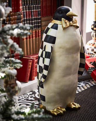 Mackenzie Childs Courtly Check Grand Penguin Statue