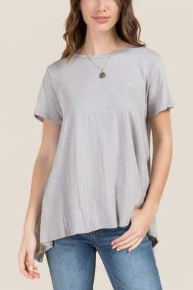 francesca's Mila Split Back Basic Tee - Heather Gray