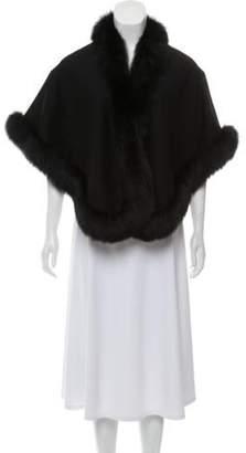 Belle Fare Cashmere Fur-Trimmed Poncho Black Cashmere Fur-Trimmed Poncho