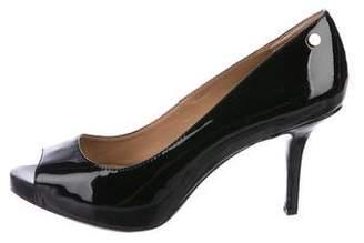 Calvin Klein Peep-Toe Patent Leather Pumps
